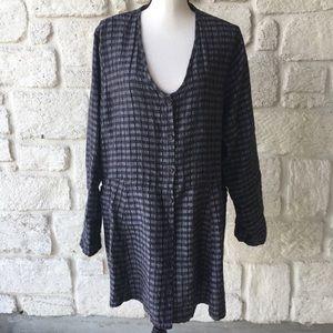 Flax Blue Linen Jacket Dress / Size Medium